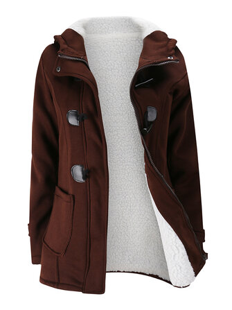 Women Hooded Coats Casual Long Sleeve Horn Button Outerwear