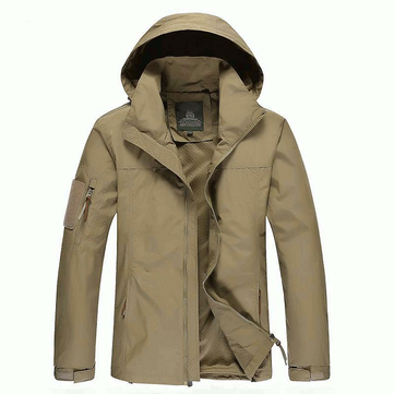 Taille M-3XL Hommes Outdoor Casual Automne Polyester Zipper Warm Coat Jacket Outwear