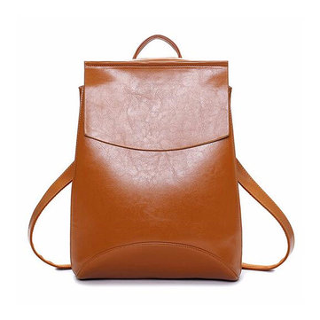 Women Multifunctional PU Leather Simple Big Capacity Simple Backpack Shoulders Bag