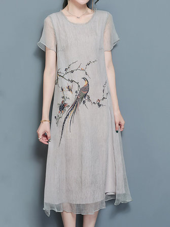 Elegant Women Short Sleeve Bird Embroidery Loose Silk Dresses