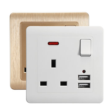 86 Type Dual USB Wall Socket Switch DC 5V/2.1A Electrical Plugs Sockets Wall UK Socket Plate