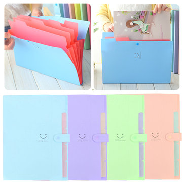 1PCS Plastic 5 Layers Pockets A4 Pouch Bill Folder Card Holder Organizer Fastener File Document Bag