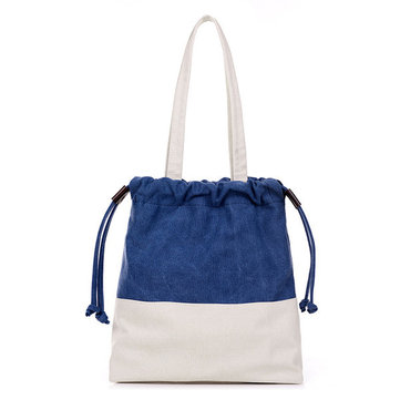 Women Canvas Drawstring Tote Bags Casual Contrast Color Shoulder Bags Shopping Bags