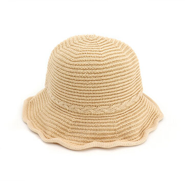 Women Summer Bucket Caps Folding Weave Beach Hats