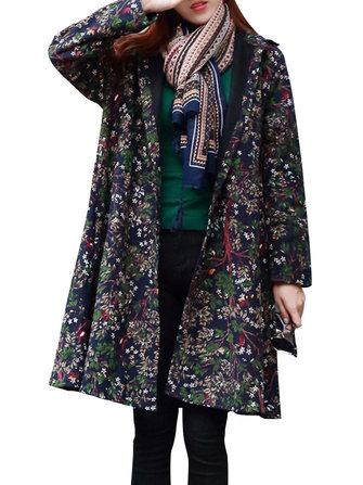 Folk Style Printed Loose Long Sleeve Women Coats