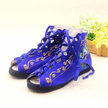 Flower Embroidery Bandage Strappy Peep Toe Sandals