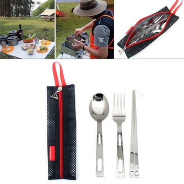 3Pcs Portable Outdoor Camping Picnic Set Stainless Steel Fork Spoon Chopsticks with Tableware Bag
