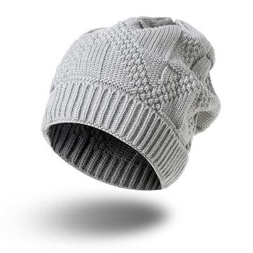 여자 크로 셰 뜨개질 니트 따뜻한 비니 모자 솔리드 캐주얼 겨울 야외 두꺼운 모자