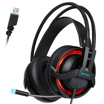 Sades R2 7.1 Channel Surround Sound Stereo Breathing Light Gaming Over-ear Headset with Microphone
