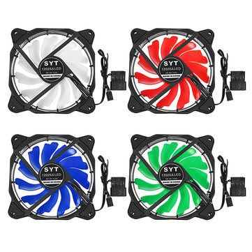 12CM DC 12V 1200 RPM Bright LED Light Computer Case Cooling Fan 3/4Pin PC Cooler Heatsink
