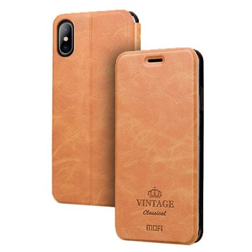 MOFi Business Credit Card Slot Kickstand PU Leather Flip Case For iPhone X
