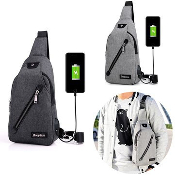IPRee™ USB Charging Canvas Chest Bag Travel Business Messenger Shoulder Sling Fanny Pack Pouch