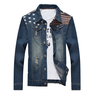Casual Vintage Printing Multi Pockets Ripped Holes Denim Jackets Plus Size for Men
