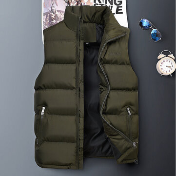 Mens Down Cotton Padded Casual Thick Vest Coats