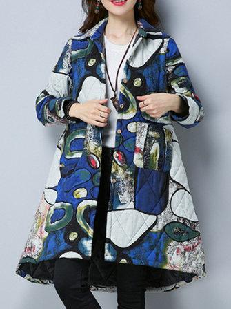 ผ้าคลุมไหล่หนาผู้หญิงพิมพ์ลายนิ้วมือพิมพ์ลาย Hem Coat