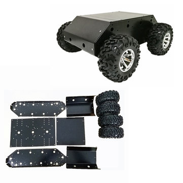 VC-200 4wd Chassis Car with Stainless Steel Frame/130mm Rubber Wheel/9V 25mm Gear Motor for Arduino