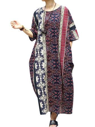 Women Casual Loose Printed Batting Sleeve Maxi Dress