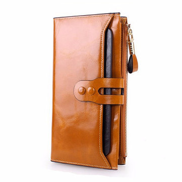 Women Men Genuine Leather Luxury Long Wallet Oil Wax Purse Card Holder Phone Bags