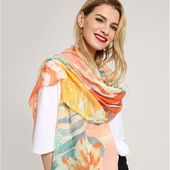 Women Noble Linen Lightweight Sunflower Abstract Painting Scarf Summer Breathable Flower Shawl
