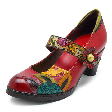 SOCOFY Vintage Printing Pattern Mid Heel Hook Loop Shoe Leather Pumps