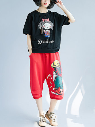 Women Casual O-neck Cartoon Short Sleeves T-shirts