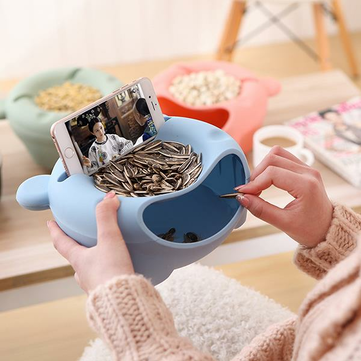Plastic Double Layer Snack Box Multipurpose Lovely Bear Shape Phone Stand Holder Food Storage Holder