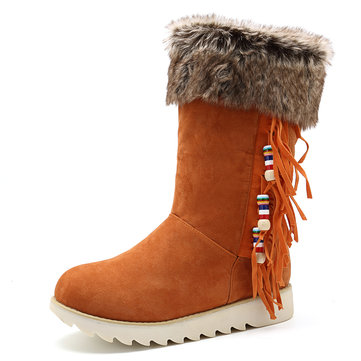 Large Size Fringe Fur Lining Winter Snow Boots