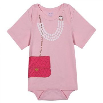 Baby Girl Princess Pearl Handbag Lady Rompers Bodysuit Infant Costume