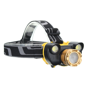XANES 7304 1500 Lumens Bicycle Headlamp 4 Switch Modes T6+2COB White Light Mechanical Zoom