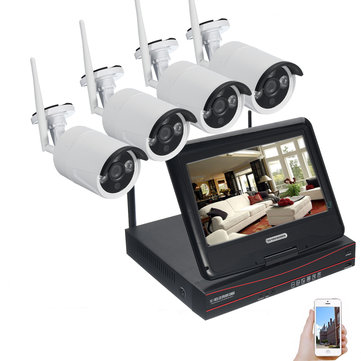 Wireless 960P 4CH 10inch LCD NVR IP CCTV Security Camera System Outdoor