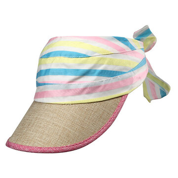 Women Summer Rainbow Top Empty Sun Hat Outdoor Sport Sunscreen Baseball Cap