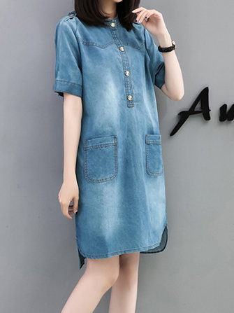 Casual Women Pocket Short Sleeve Denim Dress