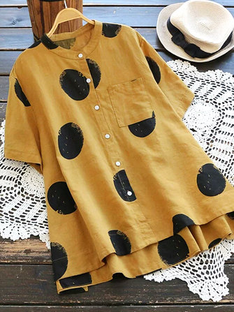 Vintage Women Polka Dot Print Stand Collar Short Sleeve Blouse