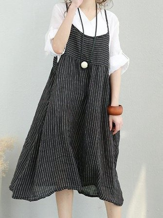 Women Stripe Strap Loose Casual Mid-long Dress