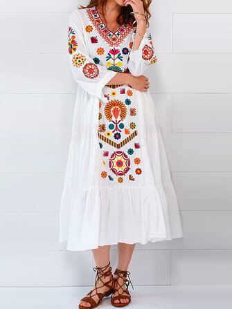 Ethnic Women V-neck Long Sleeve Floral Print Pleated Dress