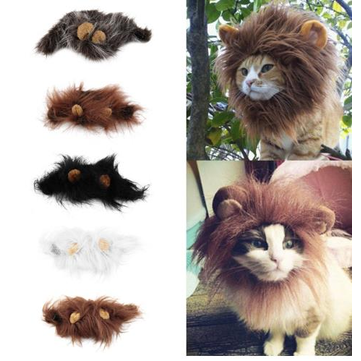 Pet Cat Emulation Lion Hair Mane Ears Head Cap