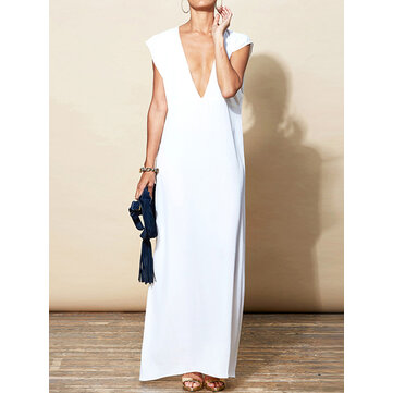Women Sexy Deep V Neck Sleeveless Party Long Maxi Dress