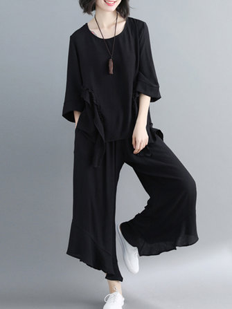 Women Fashion Ruffles Blouse and Pants Suit
