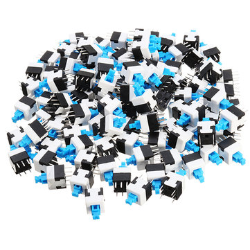 100pcs 8 x 8mm 6 Pin Touch Self-locking On / Off Switch Push Button Switch Latching Switch