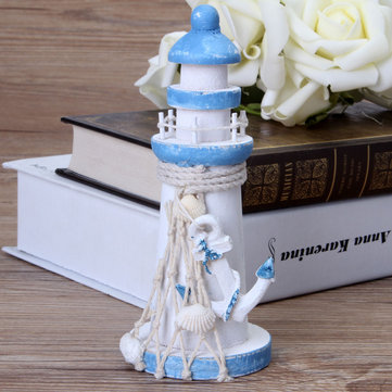 5.9 Inch Mediterranean Style Wooden Lighthouse Maritime Ornament Home Nautical Beach Decoration