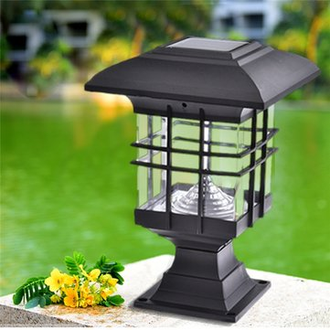 2pcs 5W Waterproof LED Solar Power Pillar Wall Lamps Outdoor Garden Lawn Landscape Lights