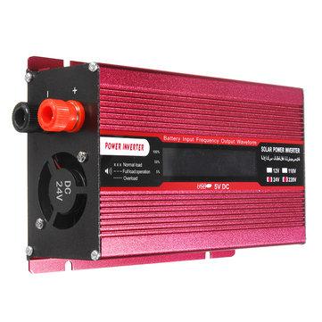1000W DC 12V/24V to AC 220V/110V Solar Power Inverter Modified Sine Wave LCD Voltage Display