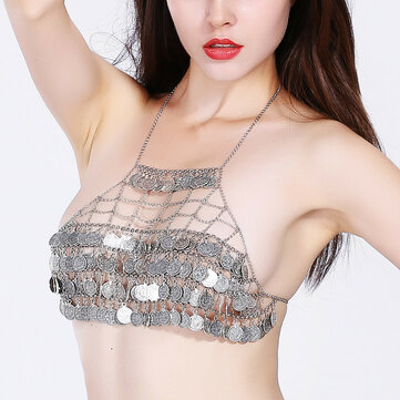 Sexy Hollow Multilayer Coin Tassel Beach Free Bra Body Chain
