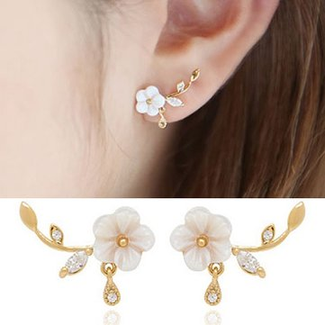 Sweet Flower Leaf White Zircon Crystal Ear Stud Earrings Women Jewelry