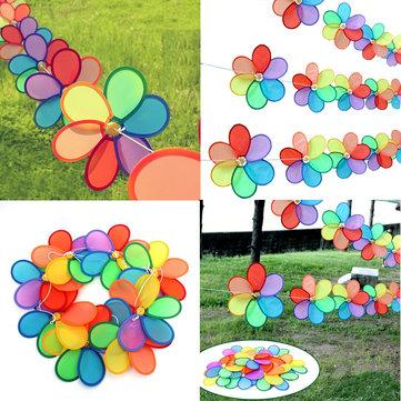 8pcs Rainbow Flower Windmill Garden Wind Spinner Festival Outdoor Camping Decor