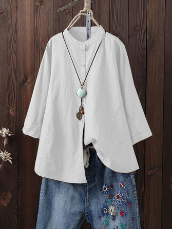 Women Long Sleeve Stand Collar Vintage Blouse