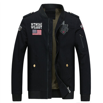 Epaulet Badge Embroidery Fashion Military Flight Jacket