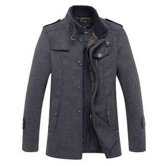 Mens Fashion Casual Stand Collar Woolen Jacket Business Trench Coat