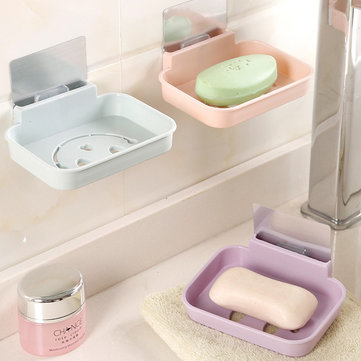 Honana BX-084 Bathroom Soap Dish Sink Sponge Holder Candy Color Magic Sticker Waterfall Soap Dish