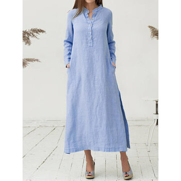Sexy Women Button V-Neck Solid Color Split Long Shirt Dress